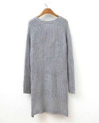 ChicNova Open Knit Sweater Dress With Step Hem