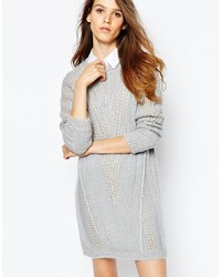 See by Chloe See By Chlo Gray And Pink Knit Sweater Dress