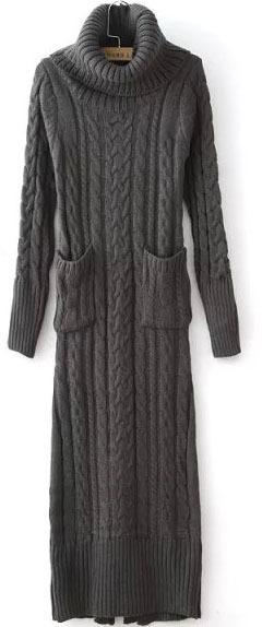b5e6b766d25 ... Turtleneck Long Sleeve Cable Knit Black Sweater Dress ...