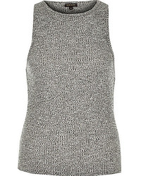 River Island Grey Marl Ribbed Fitted Tank