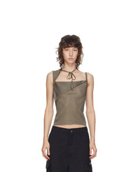 Maryam Nassir Zadeh Taupe Sheer Knit Tank Top