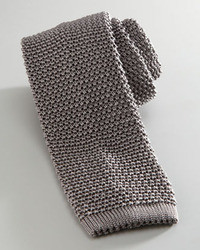 Knit silk tie gray medium 6252