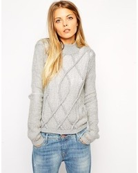 Asos Collection Sheer Sweater With 3d Cable Detail And Turtleneck