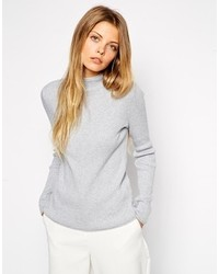 Asos Sweater In Rib With Turtleneck Gray