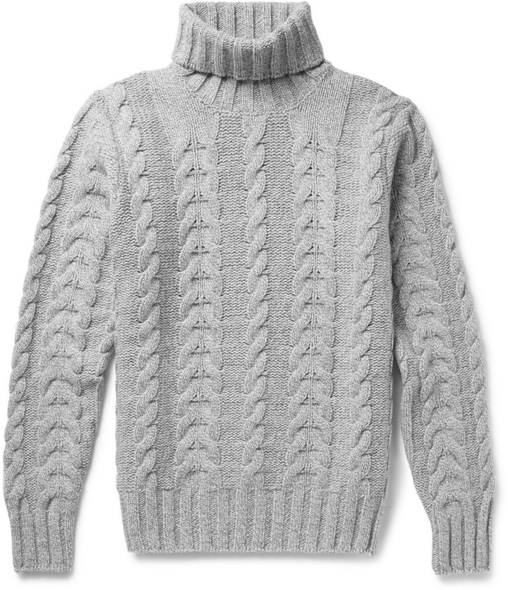 Hackett Cable Knit Wool And Cashmere Blend Rollneck Sweater ...