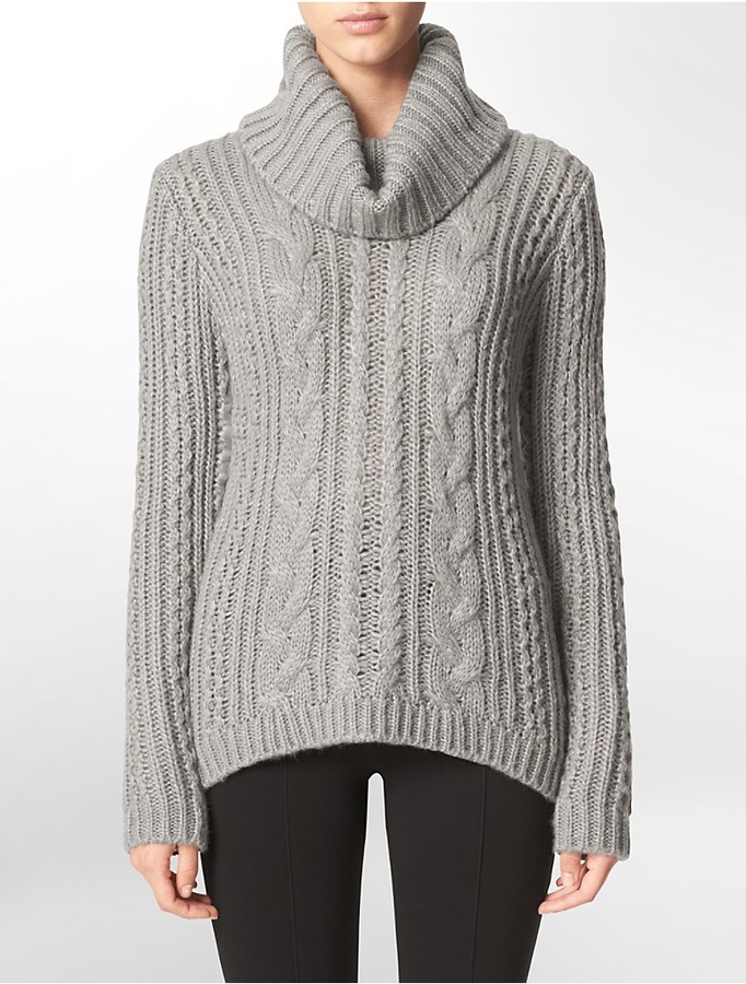 Calvin Klein Cable Knit Turtleneck Sweater | Where to buy & how to ...