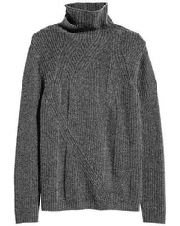 H&M Cashmere Blend Sweater Dark Gray Melange