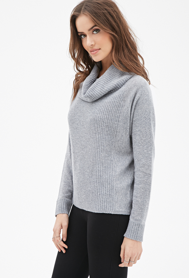 Forever 21 Contemporary Ribbed Cowl Neck Sweater | Where to buy ...