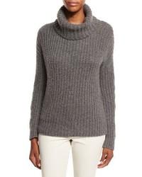 Loro Piana Davenport Cashmere Turtleneck Sweater Dark Gray