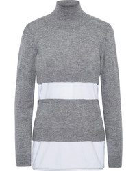 Marni Paneled Knitted And Poplin Turtleneck Sweater Gray