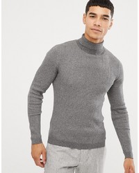 Esprit Rib Knit Muscle Fit Roll Neck Jumper In Grey
