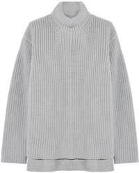 Ribbed wool and angora blend sweater medium 120232