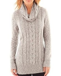 jcpenney St Johns Bay Long Sleeve Sweater Tunic With Scarf