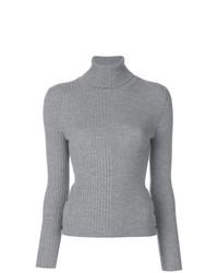 Thom Browne Striped Half And Half Rib Knit Turtleneck In Fine Merino Wool