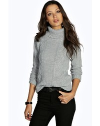 Boohoo Tall Cosette Cable High Neck Knitted Jumper