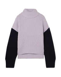 Ninety Percent Two Tone Ribbed Organic Merino Wool Turtleneck Sweater
