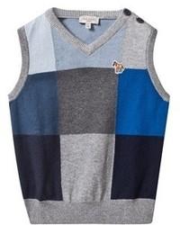 Paul Smith Junior Grey Blue And Navy Block Colour Knit Vest