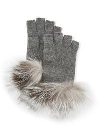 Neiman Marcus Fingerless Knit Gloves With Fox Fur Trim Medium Gray
