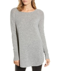 Halogen Shirttail Wool Cashmere Boatneck Tunic
