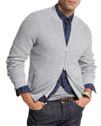 Brunello Cucinelli Ribbed Knit Full Zip Cardigan