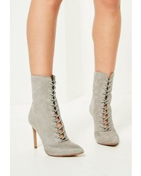 Grey pointed lace up heeled ankle boots medium 3713908