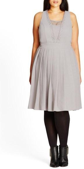 City Chic Plus Size Eyelash Trim Lace Inset Pleat Fit Flare Dress