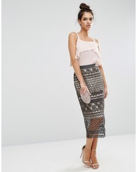 Grey Lace Pencil Skirts for Women | Women's Fashion