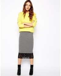 Asos Slip Pencil Skirt In Jersey With Lace Hem Gray Marl