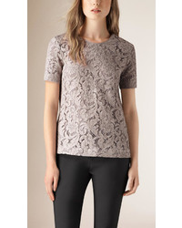 Burberry Short Sleeve French Lace Top