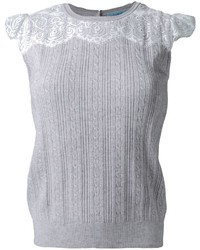 Guild prime cable knit lace panel detail sleeveless knitted top medium 1211253