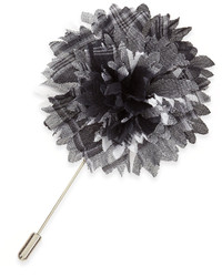 Lanvin Plaid Flower Lapel Pin Graywhite