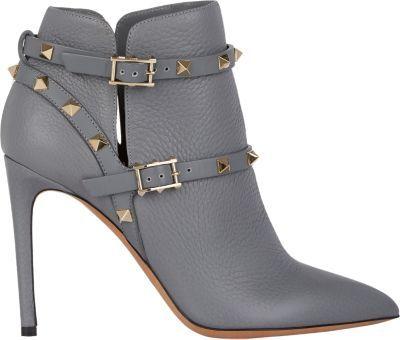 84f2825e4bcea Valentino Rockstud Ankle Boots Grey, $1,375 | Barneys New York ...