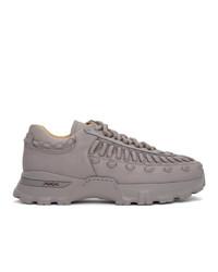 Ermenegildo Zegna Grey Leather Claudio Sneakers