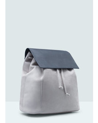 Mango Outlet Lapel Leather Backpack