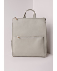 Missguided Faux Leather Rucksack Grey