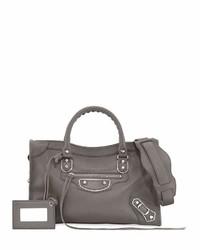 Balenciaga Met City Leather Shoulder Bag Gray