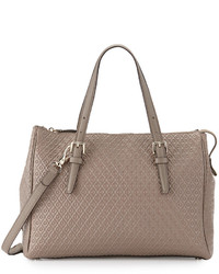 Tod's Signature Embossed Leather Satchel Bag Gray