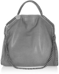 Stella McCartney The Falabella Medium Faux Brushed Leather Shoulder Bag Light Gray