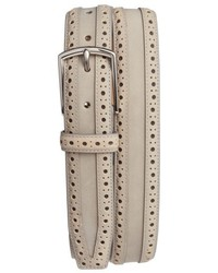 Cole Haan Brogue Nubuck Leather Belt