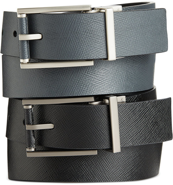 420d47b3cc $45, Calvin Klein Saffiano Leather Roll Buckle Reversible Belt