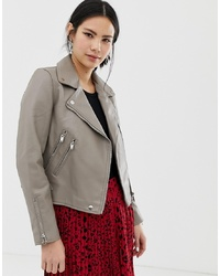 Pimkie Faux Leather Biker Jacket In Taupe