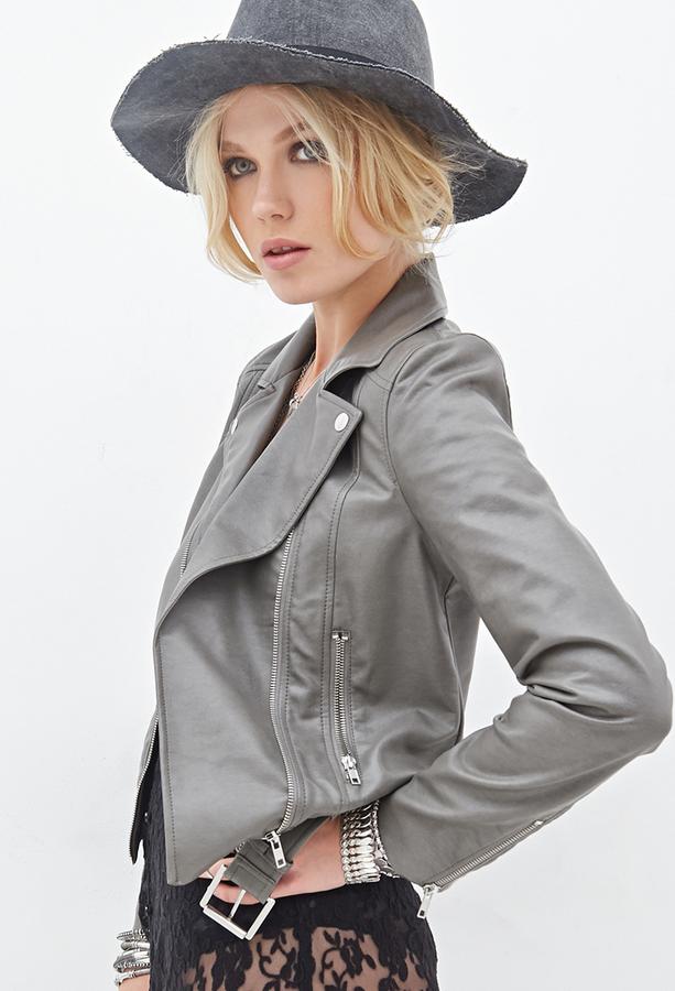 Womens gray leather moto jacket