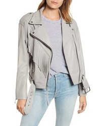 Andrew Marc Fringe Leather Moto Jacket