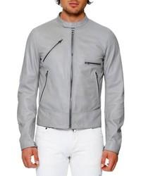 Dolce & Gabbana Lamb Leather Biker Jacket Gray