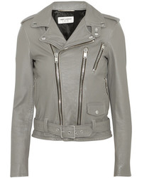 Leather biker jacket gray medium 1252001