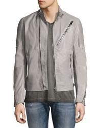 Diesel Leather Caf Biker Jacket Gray