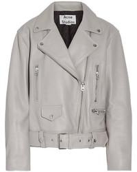Acne Studios Merlyn Oversized Leather Biker Jacket Gray