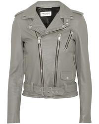 Saint Laurent Leather Biker Jacket Gray