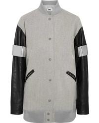 MM6 MAISON MARGIELA Faux Leather Paneled Wool Blend Felt Bomber Jacket Gray