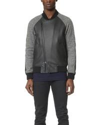 Knit wool leather bomber jacket medium 349905